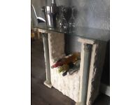 Glass and stone wine rack
