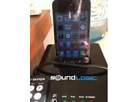 Sound logic iPod touch speaker with remote and comes with a 8g iPod touch