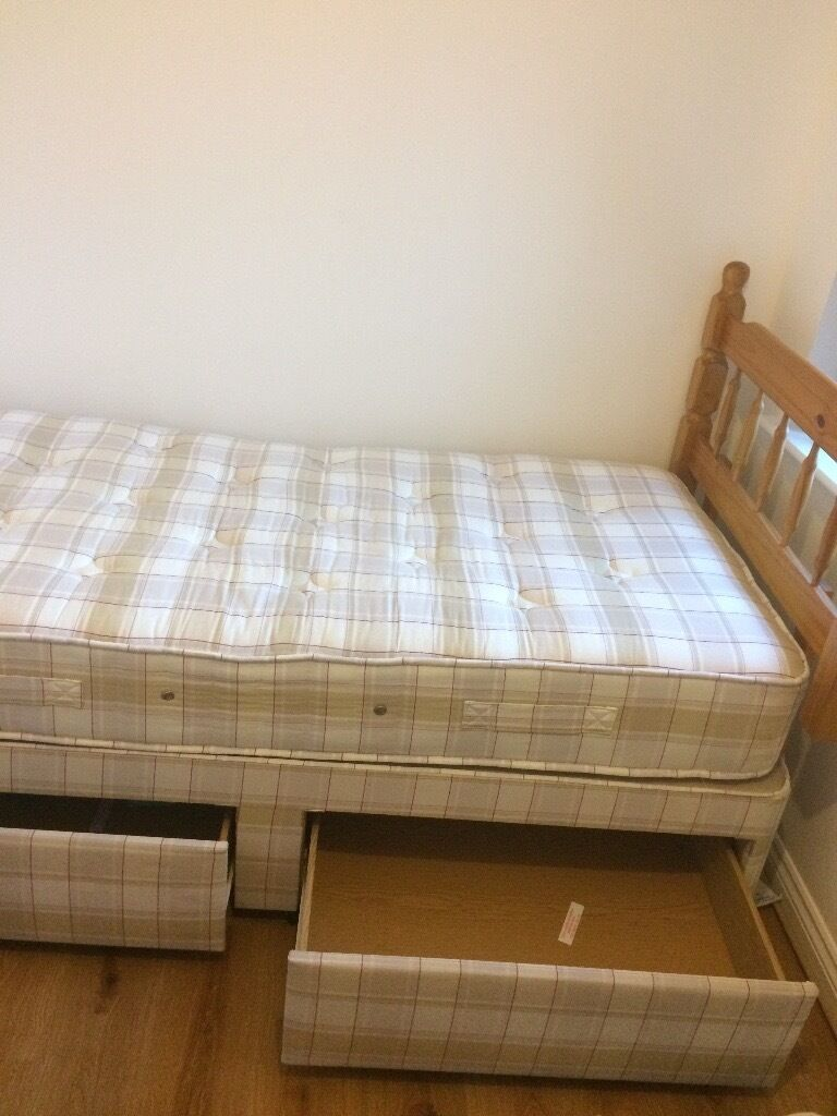 Good Single Bed And Mattress From Free Smoke Pet Home Two Big Storage Drawers