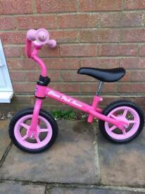 Girls pink balance bike with Disney bell
