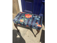 Dressing Table /Piano Stool , in good condition, just been re-upholstered . With mahogany legs .