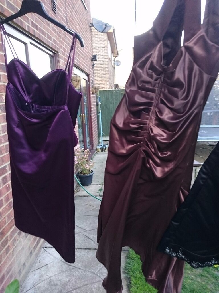 Prom dresses ball gownsin Lowestoft, SuffolkGumtree - Several prom Gowns / dresses for sale. Purple lace 2 piece with straight skirt and split up to back if knee. Zip up Bodice with faux lace up too. Size 12 14 By Veromia Bridesmaids. £25 Black and cream Veromia Bridesmaids dress. Embroidered and...
