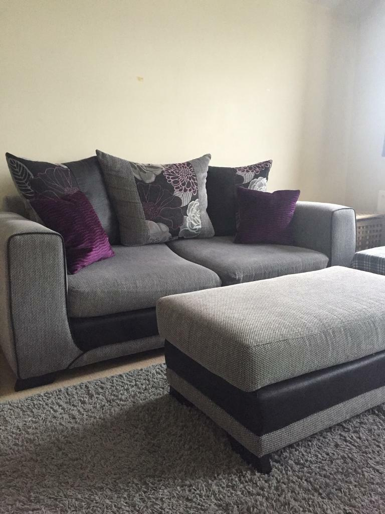 Scs Grey And Purple Sofa With Matching Footstool