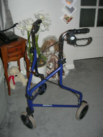 Walking Aid three wheel with Brakes good condition folds flat for easy storage