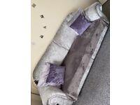 3 seater and 2 seater crush velvet sofa