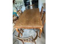 Free dining table and six chairs