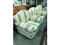 Harvey's white gold and pink Sofa with 2 armchairs - Good Condition