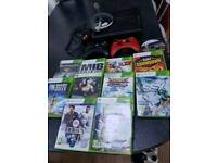 Xbox 360, 2 wireless controllers, headset & 11 games