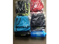 4 MAN.UP gym shorts size large and 2 protein shakers