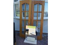 Hard Wood French doors, Mirror & Double bed with Memory Foam Mattress - Free to collect