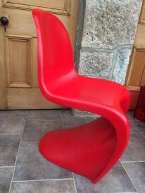 4No. Verner Panton Style Chair Red