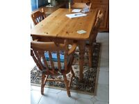 Farmhouse table, 4 chairs and dresser