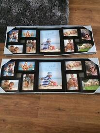 2 X brand new boxed contemporary black curved aperture photo frames Each holding 9 photos