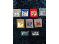 Gameboy Games (5x Pokémon,Super Mario Advance, Mario Kart)