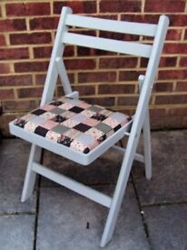 Quaint Folding Chair painted in Antique White or Flint Grey Colour and reupholstered in any fabric