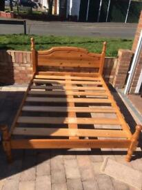 Solid pine double bed with or without foam mattress