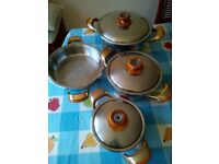 Stainless steel stockpot and pans