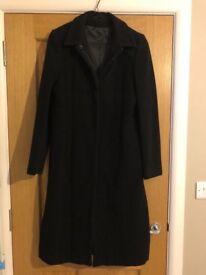 Ladies Long Black Winters Coat/Overcoat from Topshop - Size 14