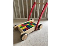 Wooden Baby Walker & Bricks