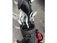 Golf clubs and bag with stand
