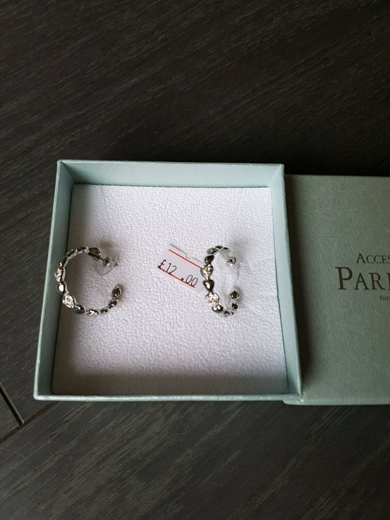 New Park Lane Accessories Silver Plated hoop patterned earrings