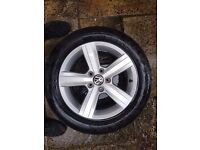 GOLF MK7 7 4X ALLOY WHEELS TYRES IN MINT CONDITION CONTINENTAL TYRES