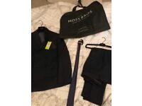 Double breasted navy pinstriped suit moss bross