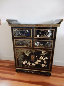 Chinese Chest, Black Lacquered with floral and birds pattern.