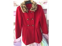 Girls red winter coat age 8-9 years