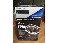 Kenwood KMM-303bt radio & Vibe Slick 69.2 420 watt speakers
