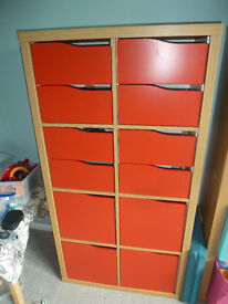 Ikea Expedit Kallax Oak Effect with red doors and drawers