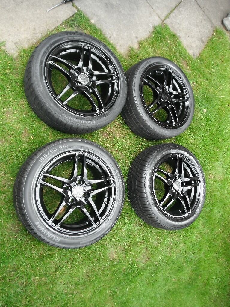 excite alloy wheels black set 4 15 inch 4 x 100 5 spoke 10 twin bladed alloy wheels c w tyres. Black Bedroom Furniture Sets. Home Design Ideas
