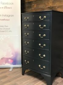 Vintage tall slim chest of drawers painted in Farrow & Ball
