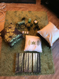 Selection of green/brown room decor