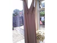 12/14 lovely long champayne colour dress.....stone detail under bust and drop back..£45..bargain....