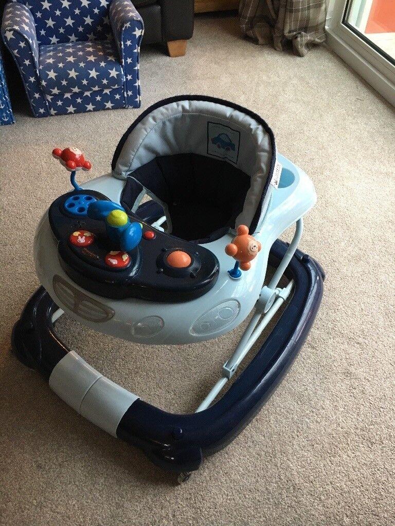 Kiddicare blue car baby walker