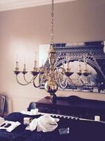 Dining room fixture gold brass