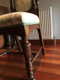 Antique Chair, Victorian,Oak, beautiful professionally upholstered English 1870