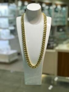 Brand New 10kt Yellow Gold Miami Cuban Link Chain 28 inches 14.75mm 145.5 gr. with Box Clasp
