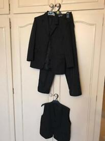 Boys black pinstripe 3 piece suit age 10