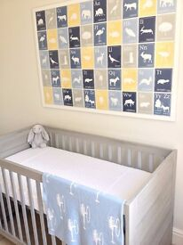 Cotbed: Europe Baby Vicenza Grey PLUS Little Green Sheep Mattress