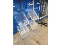 TWO SMALL THREE TIER MAGAZINE SHOP DISPLAY STANDS