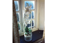 A Tall Decorative Vase with Long-stem Fabric Lillies, Ideal for Interior Decoration/xmas present.