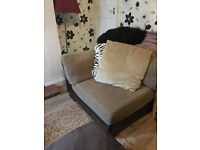 For Sale BIG large Cornor Sofas brown leather and fabric with large foot stool
