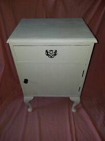 Beautiful Wooden Side Table / Bedside Table: Dillon: Antique White: Shabby Chic