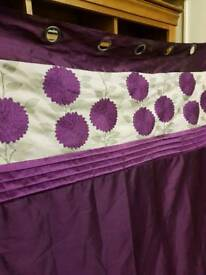 Purple Pair Of Eyelet Curtains