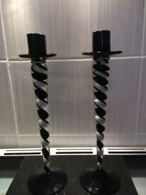 Black and white glass Art Deco candlesticks