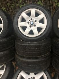 BMW 1 SERIES / 3 SERIES 16 INCH ALLOY WHEELS 5 STUD WITH 205/55R16 TYRES SET OF FOUR