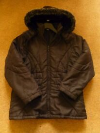 GIRLS Black Winter Coat - Size 11/12 Years, in good condition.