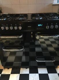 REDUCED Bush black glass and silver 8 burner 2 fan oven range fittings and gas bottles included